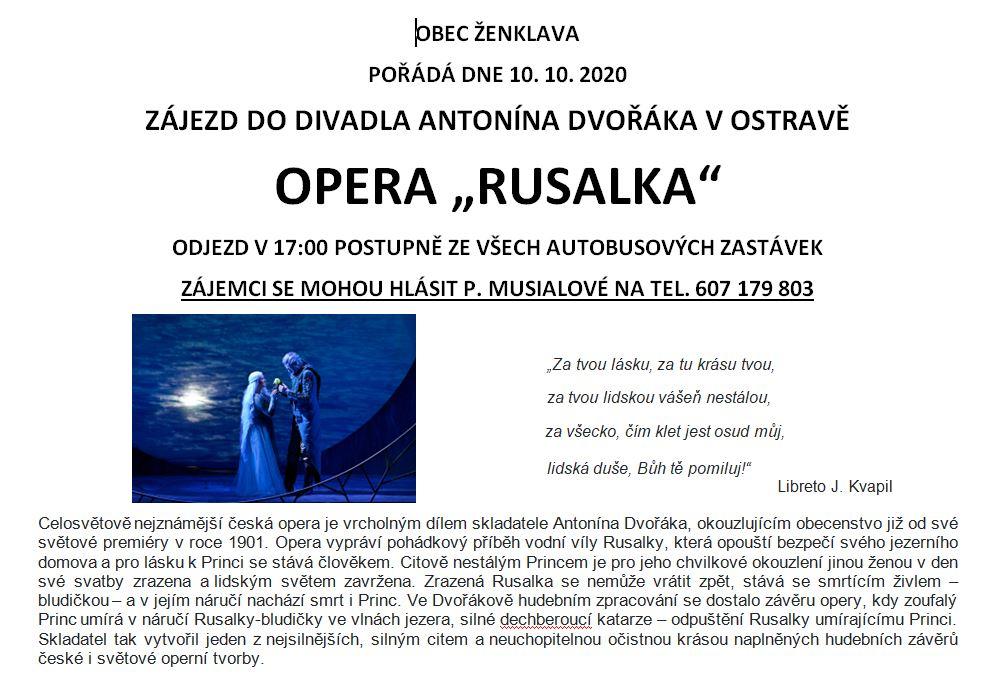 Plakát - zájezd na operu Rusalka